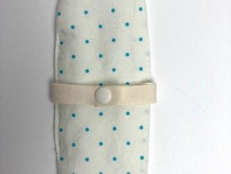 布ナプキン/おりもの用ライナー/オフ白地に水色ドットの画像