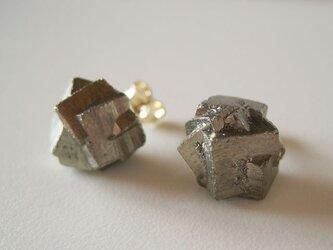 パイライトの原石ピアス/黄鉄鉱 14kgfの画像