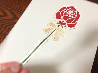 切り絵の一輪文香「バラ」(2枚入り)の画像