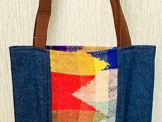 手織りとデニム 手提げ書類バッグの画像