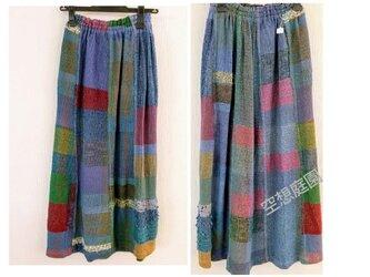 手織り ギャザーロングスカートの画像