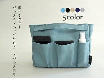 <選べる5カラー5ポケット>canvasトート兼用バッグインバッグの画像