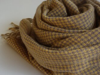 手織りカシミアストール・・黄色×渋ラベンダーの画像