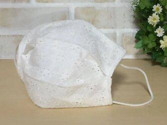 不織布マスクカバー   コットンレース ②  花柄 白の画像