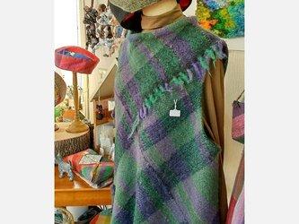 さをり織りの袖なしチュニックの画像