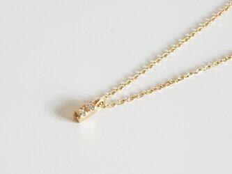 K18ダイヤモンドシンプル ピンスルーネックレスの画像