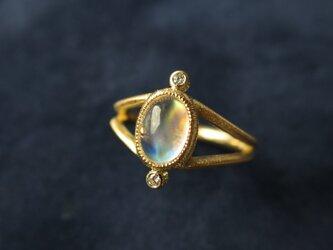 K18 Moon stone ・Diamonnd Ringの画像