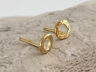 K24 Pure Gold Hammered Loop Stud ◇鎚目のついた純金のループ・スタッドピアス◇片耳分の画像