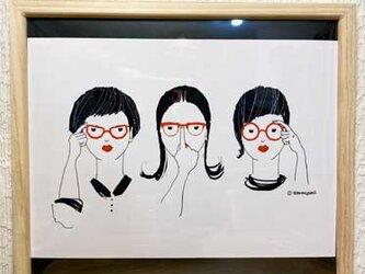 メガネジョシ- インテリアイラストポスターの画像