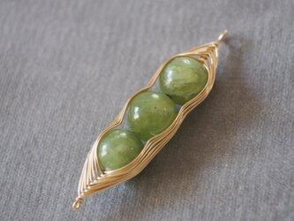 14kgf アイドクレース(ベスビアナイト)で枝豆のネックレストップ k14gfの画像