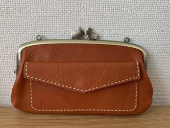 【送料無料】うさぎ口金の、外ポッケがついた本革ぺたんこ親子がまぐち長財布の画像