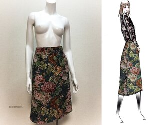 【1点もの・デザイン画付き】ゴブラン織り後ろファスナースカート(KOJI TOYODA)の画像