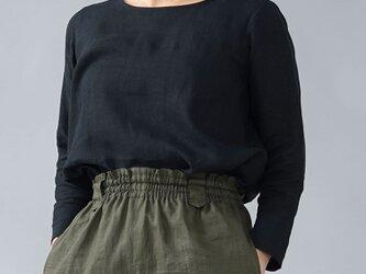 【LLサイズ】【wafu】雅亜麻リネン インナー ブラウス 袖スリット 黄金比率のネック角度/黒色 p012a-bck1-llの画像