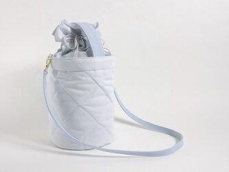 オリジナル キルト バケツバッグ アイスブルーグレーの画像