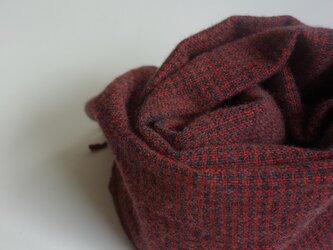 手織りカシミアマフラー・・れんが×チャコールの画像