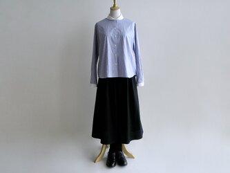基本のキュロットスカート(久留米紬織・黒)【受注製作】送料無料の画像