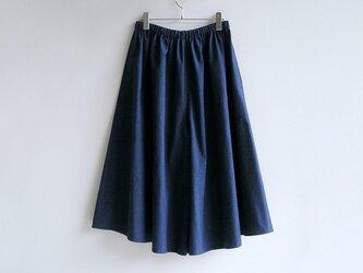 基本のキュロットスカート(久留米紬織・青)【受注製作】送料無料の画像