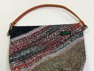 手織りのポーチ 取外し取っ手付きの画像