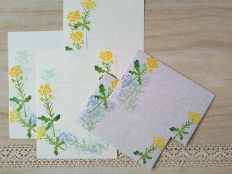消しゴム版画「ミニお手紙セット(菜の花と春の草花)」の画像