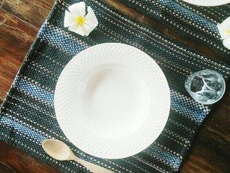 カレン族の手織りマット 2枚セット/ ダークグレー/ ランチョンマット/ タイの草木染め & 手織りの画像