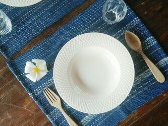カレン族の手織りマット 4枚セット/ 藍/ ランチョンマット/ タイの草木染め & 手織りの画像