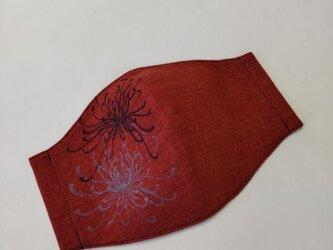 碧-ao-×善工房コラボ和柄マスク(糸菊)朱赤の画像