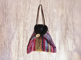◆SALE◆手織り もこもこファー三角バッグの画像