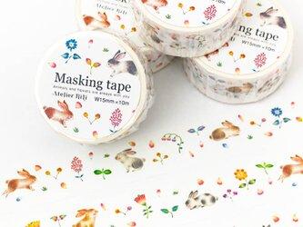 """絵本のかけら。マスキングテープ """"草花の庭のうさぎたち"""" MT-5の画像"""