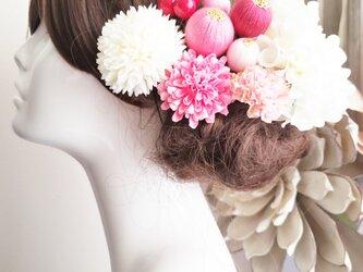 花kirari  pinkとwhiteの髪飾り11点Set No782の画像