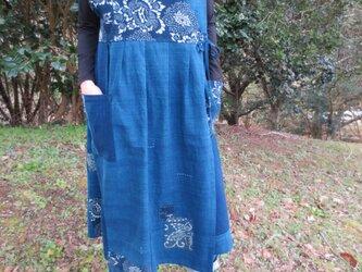 古布リメイク カシュクールジャンバースカート きれいめ襤褸 藍染 型染 刺し子 綿100% 大人可愛い Boroの画像