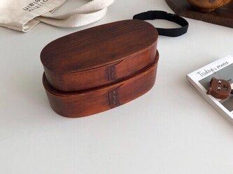 受注生産 職人手作り ランチボックス 2段弁当箱 キッチン小物 弁当箱 木目 天然木 無垢材 木工 エコ LR2018の画像