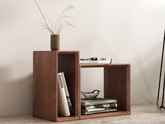 受注生産 職人手作り Wi-fi ルーター収納 A4ボックス シェルフ 家具 天然木 無垢材 シンプル LR2018の画像