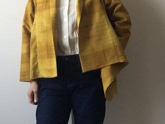 着物リメイク ケープジャケット 黄色のチェックの画像