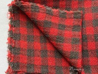 140x50 赤 x カーキ チェック ガーゼ ウール 100% 良品質 はぎれ 生地の画像
