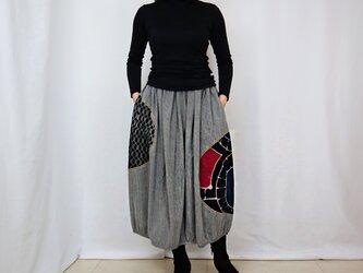 再販☆草木染め、手描染め刺繡入りコットンバルーンスカート、フリーサイズの画像