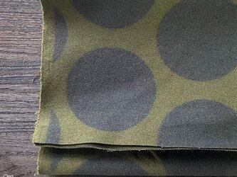 108x50 カーキ x ブラウン 水玉 起毛 綿100% 良品質 はぎれ 生地の画像