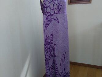 きものリメイク ワンピースドレス しぼり 紫 牡丹の画像