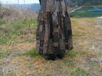 着物リメイク  エレガントパッチスカート  裏付きの画像