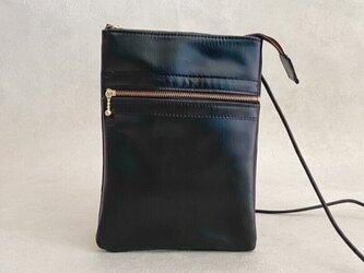 【送料無料】サコッシュ スマート レザー 本革 長財布サイズ ブラックの画像