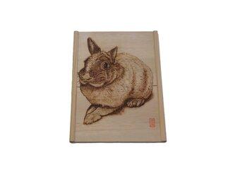 オーダ作品見本 ペットの焼き絵 木枠付きの画像