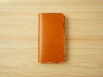 牛革 iPhone 12 mini カバー  ヌメ革  レザーケース  手帳型  キャメルカラーの画像