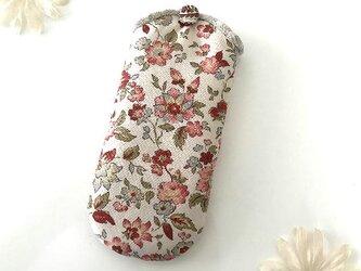 メガネケース 花柄 赤の画像
