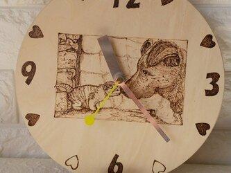 オーダ作品見本 時計付きペットの似顔絵の画像