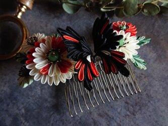 【受注作成】つまみ細工 髪飾り (蝶よ花よ  蝶々銀朱)の画像