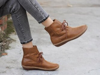 【受注製作】丸トウ ぺたんこ牛革レザーショートブーツ 靴 手製裁縫 2色展開 SJE9832の画像
