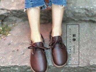 【受注製作】ぺたんこ丸トウ 手製裁縫牛革レザーパンプス 靴 3色展開 DKE23の画像