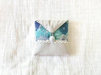 リバティプリント アクセサリーケース(スモール・スザンナ)水色の画像