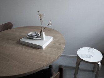 Round Table オーク無垢材/ダイニングテーブル/直径100cm/ 丸テーブル/丸テーブル/高さ指定可&脚カラー選択可の画像