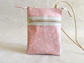 【送料無料】サコッシュ スマート レザー 本革 長財布サイズ 花柄 ローズ ピンクの画像