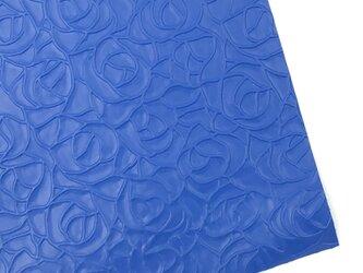 本革A4サイズ ローズ型押し      【ブルー】の画像